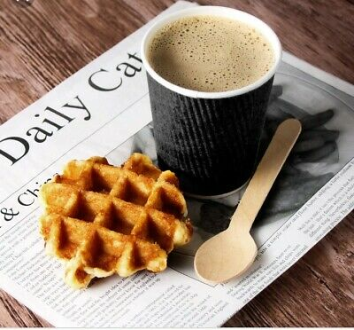 * 8oz BLACK Insulated Ripple Disposable Paper Coffee Cups Qty 1 -1000 CUPS ONLY