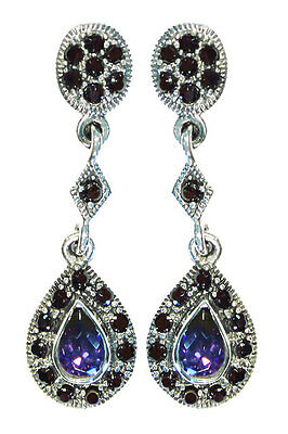 Sterling Silver/ Amethyst/ Black Diamond Teardrop Earrings