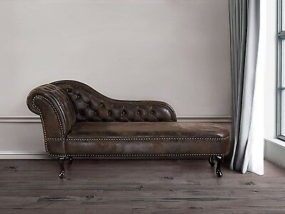 Chaise lounge, day bed, Chesterfield, lounge, old English, suede, brown
