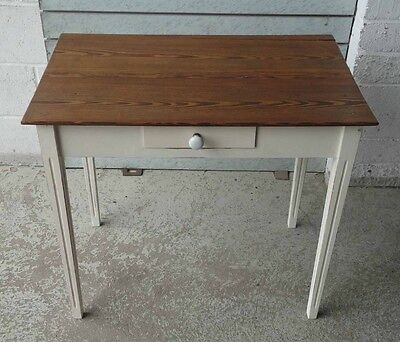 Antique Shabby Chic Rustic Old Pine Small Table With Drawer Or Writing Desk
