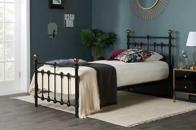 "Atlas Black & Antique Brass Single 3'0"" Metal Bed Frame"