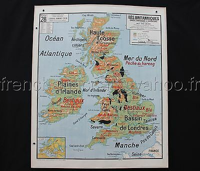 """L727 Antique school map British Isles Political Physical Industrial 47""""*39"""""""