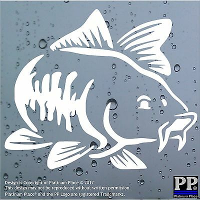 1x Carp Fish-WHITE-Car,Van,Window,Bodywork,Sticker,Sign,Fishing,Rod,Lake,Mirror