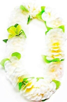Hawaiian Luau Lei White & Yellow with Green Leaf Party Accessory