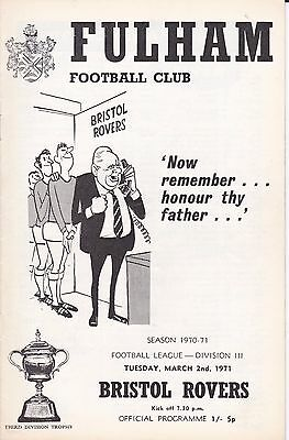 FULHAM v BRISTOL ROVERS ~ 2 MARCH 1971 ~  FREE POSTAGE