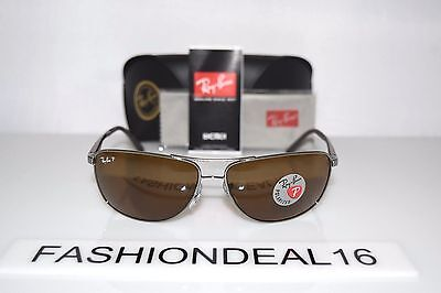 New Ray-Ban Authentic Gunmetal Brown RB3506 132/83 Polarized 64mm Sunglasses