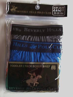 Beverly Hills Polo Club Underwear Underpants 2 Boxer Brief Sz 2T/3T 4Toddler NIP