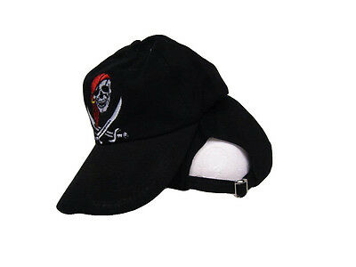 Black Jolly Roger Pirate Calico Jack Rackham Red Hat Washed Style Hat Cap