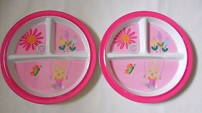 2 Plate LOT Nonslip Toddler 3 Section Divided NEW Melamine Pink Bunny Spring