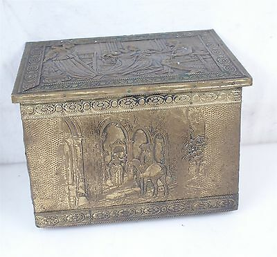 Antique British Brass Wood  Coal Hod Fireplace Box
