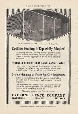 1917 Cyclone Fence Co Waukegan IL Ad: the Samuel Untermyer Estate Yonkers NY