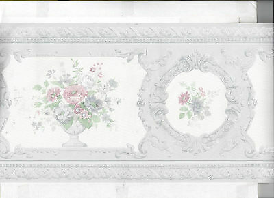 Wallpaper Border Satin Finish Victorian Floral Flowers In Vase New Arrival Blue