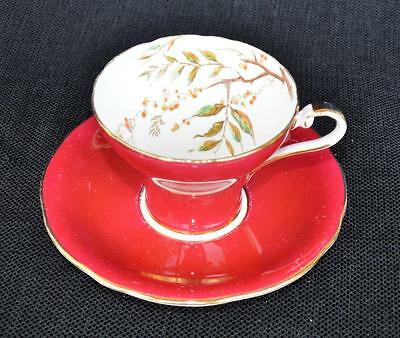 Vintag 50s AYNSLEY Fine Bone China England ROWAN BRANCH Bordo Cup & Saucer #1569