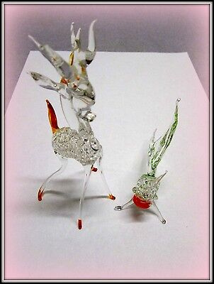 2 Vintage Hand Blown Rod Glass Miniature Figurines   1 Reindeer  1 Angel Fish