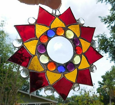 Leaded Stained Glass Sun Catcher  Flower Hanging dark red #16