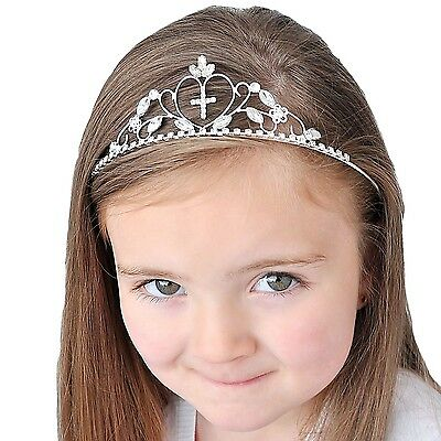Girls Crystal/ Diamante Cross Design Tiara Headband - Holy Communion (065)
