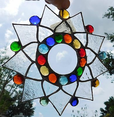 Leaded Stained Glass Sun Catcher  Flower Hanging clear frosted #18