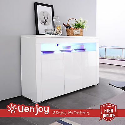 BN Modern High Gloss Sideboard Cabinet Unit Cupboard Buffet with LED White