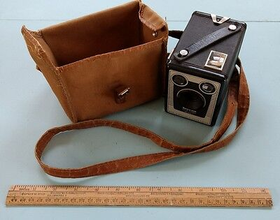 Kodak Brownie Six-20 Camera Model C with Canvas and Leather Case c1953-1957