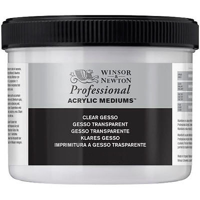 Winsor & Newton Artists Clear Gesso Primer for Acrylic &Oil Paint 225ml or 450ml