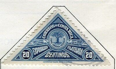 COSTA RICA;  1932 early Triangle Philatelic Expo issue used 20c. value