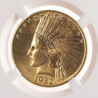 1932 Indian Head $10 NGC Certified UNC Details Cleaned US P Mint Gold Coin