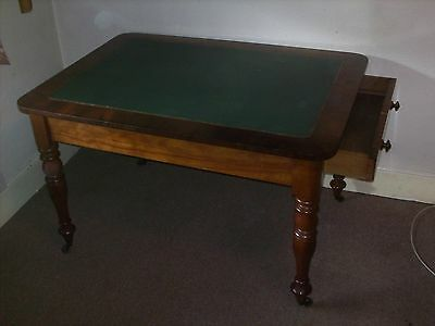 Antique Mahogany Writing Table / desk, green leather top. 2 drawers
