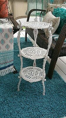 Older Antique Victorian Wrought Cast Iron Three Tier Plant Stand White Ornate