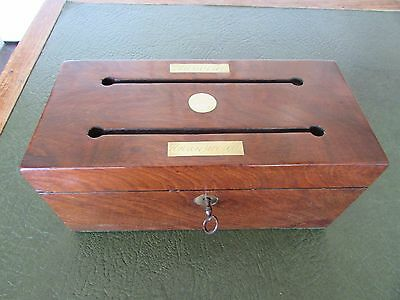 Mahogany & Brass Double Letter Box Answered & Unanswered c.1880