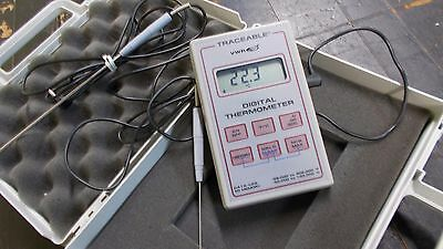 VWR TRACEABLE DIGITAL THERMOMETER DATA LOG -50 to 150 °C w/ TWO PROBES AND CASE