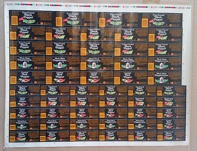 RARE Vintage McCormick Spice Labels Press Sheet With Color Bar!
