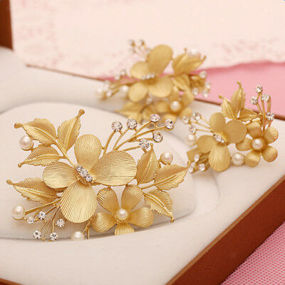 3pcs /Set Gold Wedding Bridal Flowers Pearls Butterfly Hair Clip Hair Pins