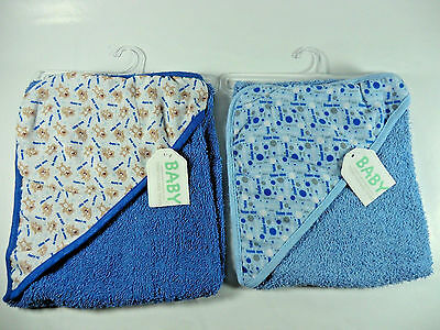Hooded Baby Towel Set of 2 (as shown) Blue Baby Shower Gift NEW With Tags