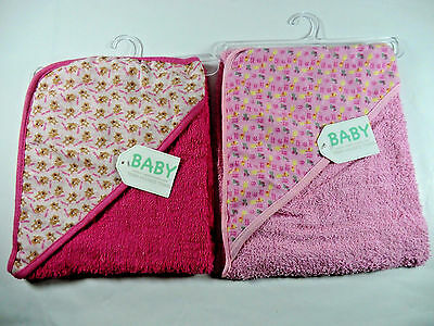 Hooded Baby Towel Set of 2 (as shown) Pink Baby Shower Gift NEW With Tags
