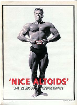 """1998 Print Ad For Altoids Mints Muscle Body Builder """"the Curiously Strong Mints"""""""
