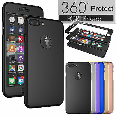 360° Full Body Shockproof Case For iPhone 6 6S 7 + Tempered Glass Phone Cover