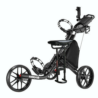 CaddyTek CaddyLite EZ-Fold 3 Wheel Golf Buggy / Push Cart Black + Removable Seat