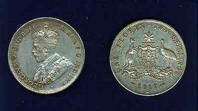 Australia  George V  1917-M  1 Florin Silver Coin  Almost Xf