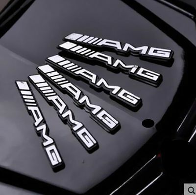 2 X 3D Logo Amg Steering Wheel Interior Sticker Badge Emblem S66 Alloy For Benz