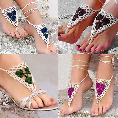1 pair/2PC crochet barefoot sandals Anklet jewelry Beach wedding Accessory Shoes