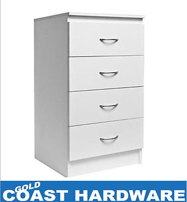 4 Drawer White Unit With Handles - Wardrobe Drawers RRP $179 - BEDSIDE CABINET