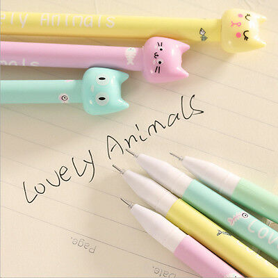 4pcs/set Kawaii Kitsch Kitty Cat Head Gel Pen Cartoon Korean Cute Pencil Random