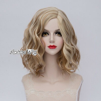 Lolita Brown Mixed Blonde Short Curly Women 35CM Party Cosplay Wig+Cap