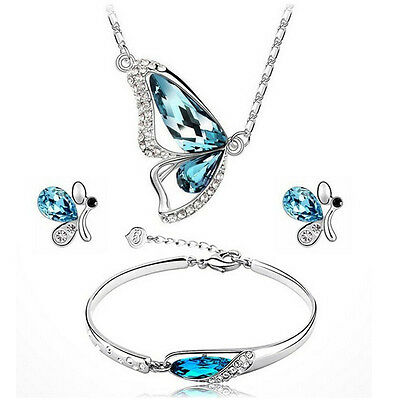 Wedding Bridal Jewelry Crystal Butterfly Pendant Necklace Earring Bracelet Set