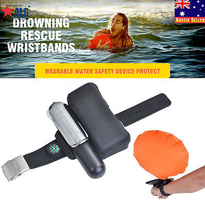 Sports Wrist Bracelet Inflatable Float Air Bag Swimming Rescue Ring Emergency