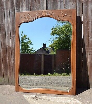 Vintage Large French Style Oak Mirror Beveled Edge Wall Floor Standing Mirror