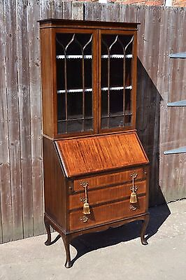 Lovely Edwardian Inlaid Bureau Bookcase Writing Desk Mahogany Home Office