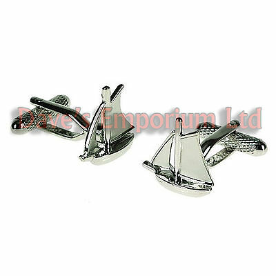 Sailing Yacht Cufflinks by Onyx Art - Gift Boxed - Boat Nautical Sailor CK640