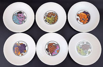 Set of Six 6 Vintage 1970s Ironstone Beefeater Rare Side Plates Cow Bull Funky
