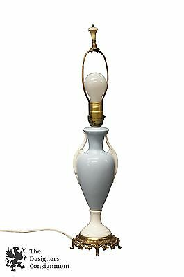 """Vintage Beckwith China Porcelain Ceramic Lamp Blue and White Brass Base 23"""""""